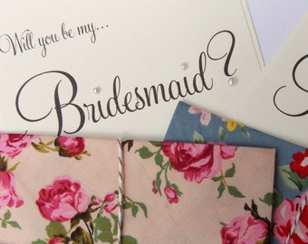 2 x Will you be my bridesmaid Cards, Wedding Invitation, bridesmaid reveal. floral fabric envelopes tied with baker's twine