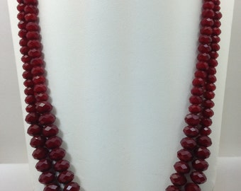 "Ruby Red quartz 22"" necklace"