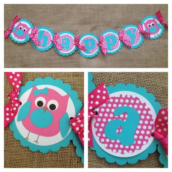 Owl Birthday Banner Owl Party Banner Look By AWhimsyPartyShop