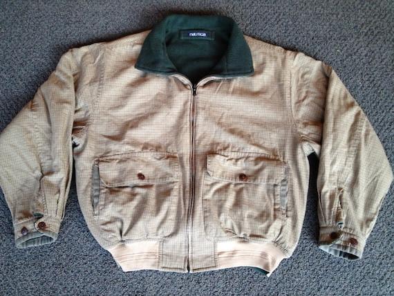Vintage Mens Reversible Nautica Yacht Club Plaid Green Fleece Sailing Polo Sport Jacket Coat Sz:L