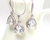 Crystal Bridal Set, Teardrop Pendant Necklace & Earrings, Sterling Silver Chain
