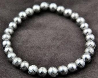AAA Grade  Genuine Gibeon Meteorite Round Beads 6MM, Natural Gibeon Meteorites Bracelets 6MM, Genuine Meteorite Jewelry