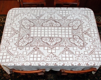 """Filet Lace Vintage Tablecloth, Filet Net lace, Darn Net Lace, Vintage Lacis, Hand Made 72"""" by 62"""", Holiday Dinner, Cottage, Victorian"""