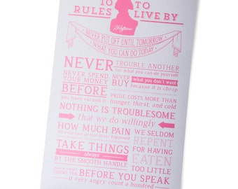Hot Pink/Cream Thomas Jefferson's 10 Rules to Live By Motivational Poster