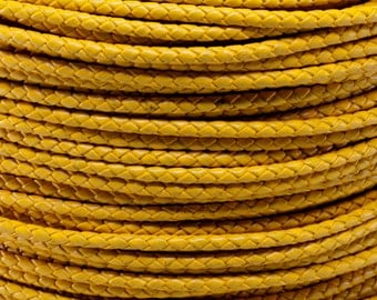 1 Yard / 3 Feet of 3MM Yellow Braided Round Bolo Leather Cord