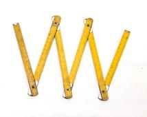 Vintage Yellow Wooden Folding Ruler, Vintage Measuring Tool, Orange Meter Ruler, USSR Foldable Ruler, Soviet Collectible, ohtteam,