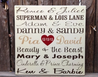 5th Anniversary Gift Custom Personalized with Famous Couples Wedding Date Wedding Wood Gift Famous Lovers Gift for Husband Wife Engagement