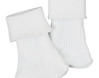 """White Cotton Ankle Socks - Fits any 18"""" & 15"""" Dolls"""
