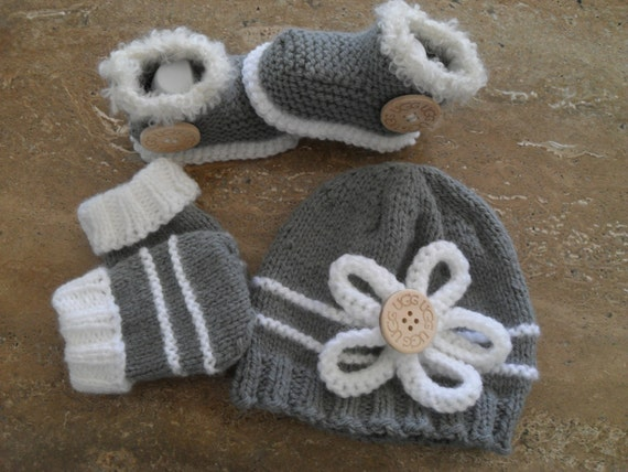 Knitting Patterns For Baby Mittens And Booties : Instant Download Knitting Pattern Baby Booties Beanie And