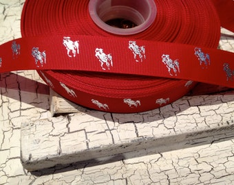 "7/8"" Preppy Metallic Silver  POLO HORSE on Red grosgrain ribbon sold by the yard"