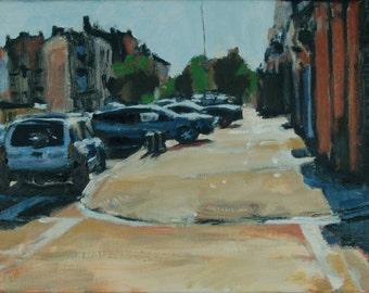 Original Oil Painting, Brooklyn, Cityscape, Street Scene by Robert Lafond