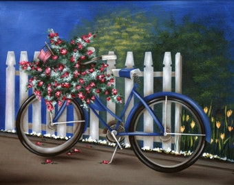 Summer Bicycle  Fine Art Print of Original Acrylic Painting