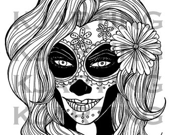 girl skull coloring pages - Sugar Candy Skulls Coloring Pages