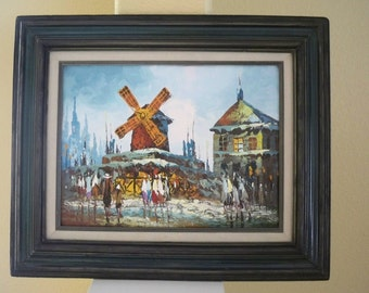 Vintage impressionistic pallet knife city scene oil painting
