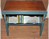 Peacock Blue Painted Distressed Library Wood Side Table & Book and Magazine Storage