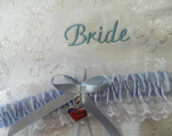 Wedding Day Garter and Handkerchief - Bride's keepsake