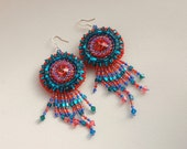 Big earrings WITCHCRAFT beadwork beaded crystal boho chic bohemian jewelry red green