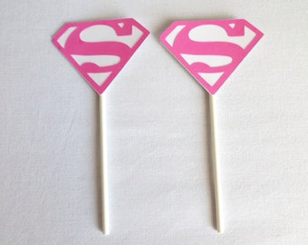 Supergirl Party Pink Cupcake topper sticks 12 Count made for girls