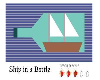 Ship in a Bottle pieced quilt pattern in PDF