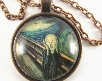 THE SCREAM Necklace  Edvard Munch fine art pendant   Anxiety on the bridge   Wearable modern art