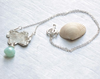 silver cloud necklace, cloud charm, simple necklace, blue gemstone necklace, woodland nature jewelry