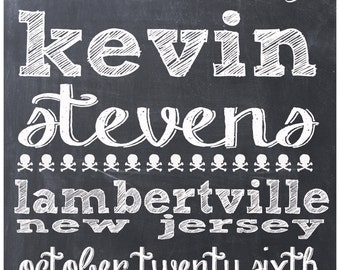Personalized 11x14 Wedding Chalkboard Print