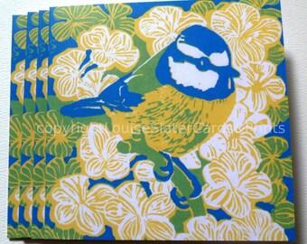 Blue tit bird square greeting card