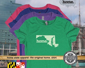 Maryland Home. T-shirt- Womens Red Green Royal Pink Purple