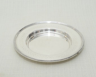 Vintage Silver Plated Small Rond Plate Bottle Coaster  with Hallmark