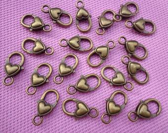 50pcs antique bronze heart lobster clasps