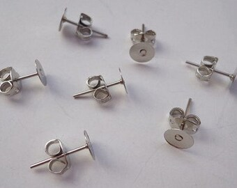 100 pairs Nickel Free Surgical Steel Stud Earnuts and 6mm Flat Pads,White K Earring Posts with Back Stoppers(Nickel free ).