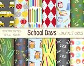 "School Digital Paper: ""SCHOOL DAYS"" School Bus Owl Letters Apple Chalkboard Numbers for scrapbooking, invites, cards"