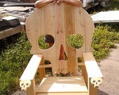 SKULL CHAIR , ADIRONDACK chair, yard furniture, solid wood construction , skeleton themed Huge....king sized chair