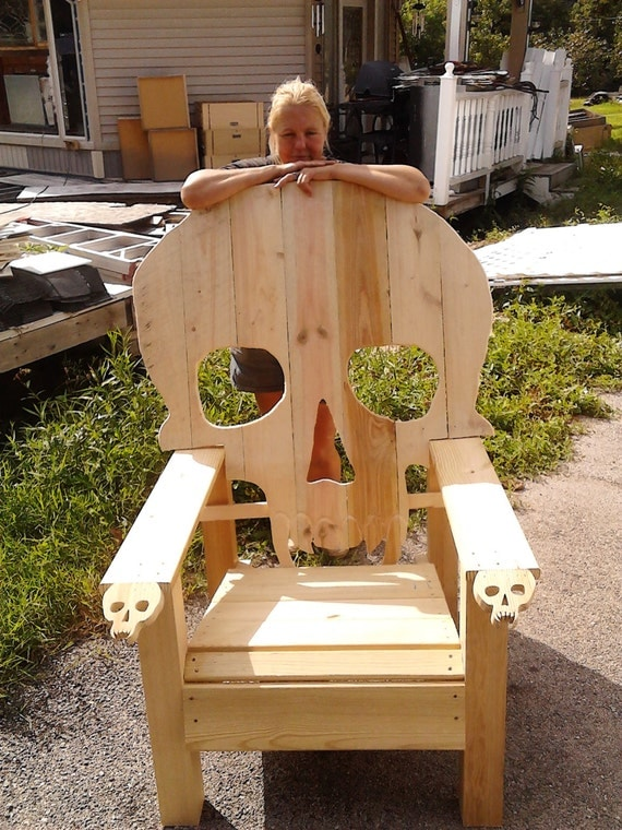 SKULL CHAIR , ADIRONDACK chair, yard furniture, solid wood ...