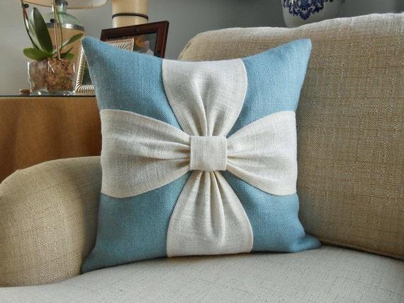 Burlap bow pillow cover in aqua blue and white burlap 18x18 - Cojines decorativos para sofas ...