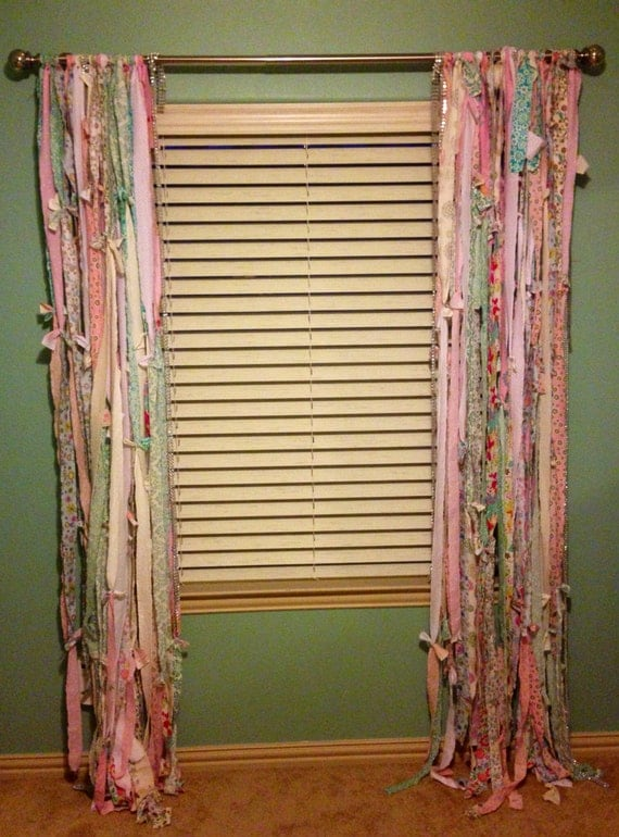 Items Similar To Fabric Strip Shabby Chic Curtains Unique
