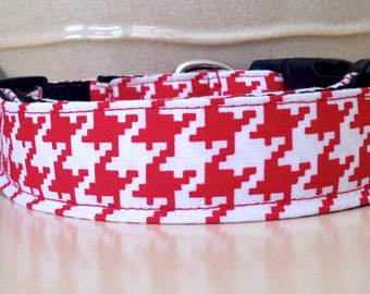 Dog Collar- Red Houndstooth