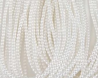 4mm Czech Glass Pearl - 70400 White x 120pcs
