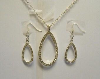 OOAK Hand Made Silver CZ Teardrop Necklace Choker with Silver CZ Earrings 02