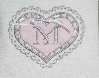 Instant Download Machine Embroidery heart ribbon