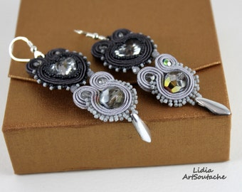 Gift for a loved one,heart ,grey,soutache,embroidered soutache