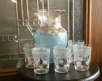 Edwardian Pitcher, 5 Tumblers Downton Abbey Style, Good for Movie/TV sets, Hand Painted, Hand Blown