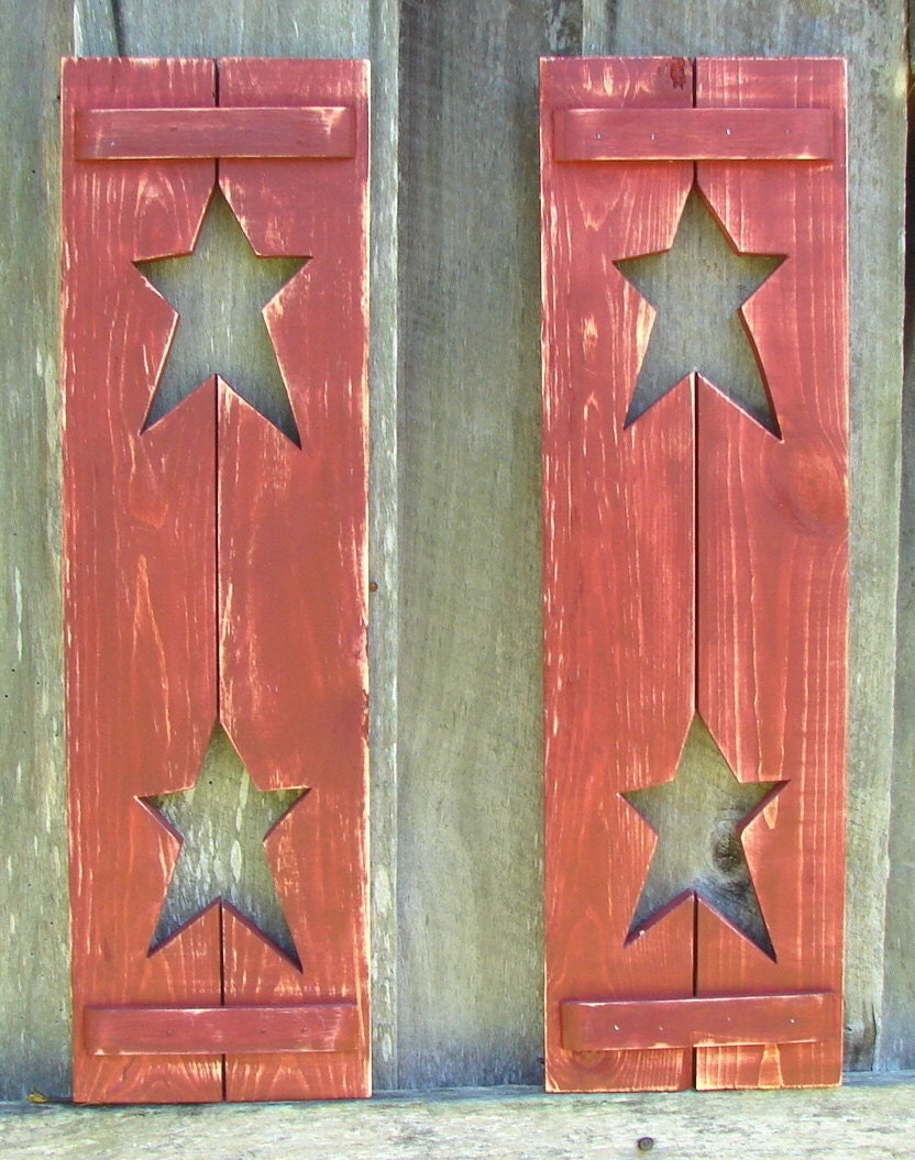 Decorative Metal Shutters For Living Room Interior Houston Tx: Decorative Rustic Wood Shutters With 2 Stars In Each. Two In
