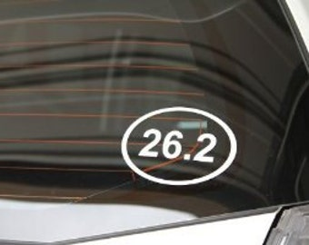 "26.2  Full Marathon Outline Euro Oval 5"" Vinyl Decal Widow Sticker for Car, Truck, Motorcycle, Laptop, Ipad, Window, Wall, ETC"