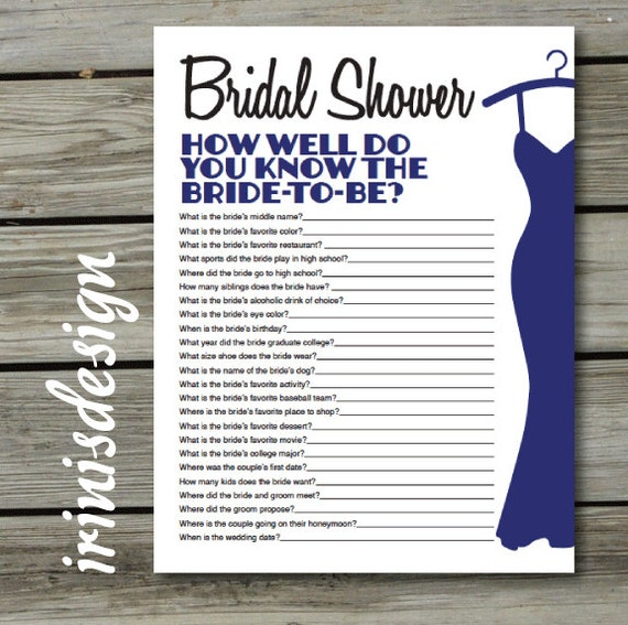 Bridal Shower Game Quiz How Well Do You Know The