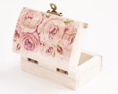 "Wooden box with a pink rose ""English Roses"" - Wedding decor, bearer box, floral, rustic ring box, rustic wedding, romantic ring bearer box"