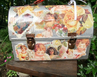 Sale - Salel -Vintage/Antique lunch box with decoupaged with Victorian Scraps