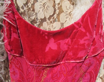 Vintage Pink and Pink Velvet  Dress