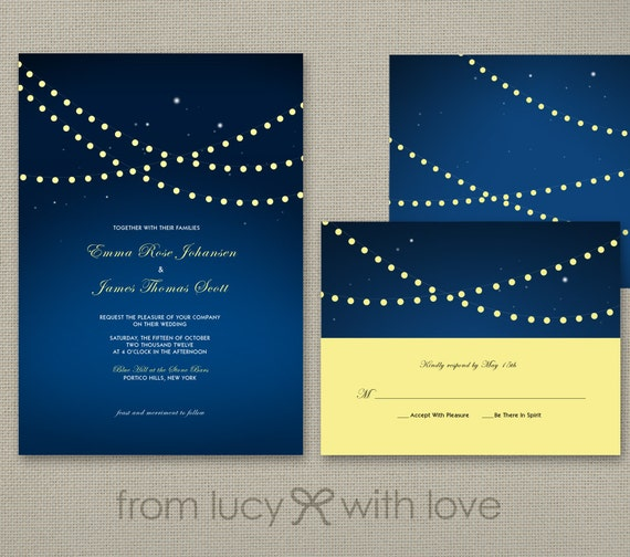 Wedding Invitation and RSVP - STRING LIGHTS collection - navy blue and yellow - Printable or Printed