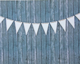 White Pennant Banner - White Banner - Paper Bunting - Paper Garland - Nursery Decor - Wedding Decoration - Wedding Photo Prop - Name Banners
